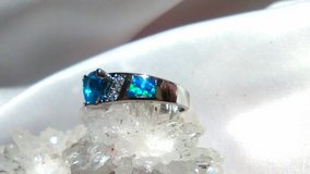 Blue Aquamarine gemstone ring, Opal accents Size 7 Silver 925 stamped in 29 Palms, California