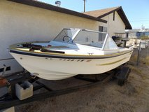 1960 something Boat, trl. and 85 hp Merc. outboard in 29 Palms, California