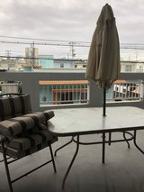 Patio table with umbrella in Okinawa, Japan