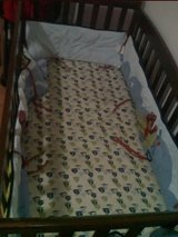 Baby crib +  matress and bedding set. Convertible, can be taking apart for transport. Pet  and s... in Ramstein, Germany
