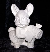 Vintage Unpainted Bisque Bunny Rabbit at Mailbox in Alamogordo, New Mexico