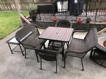 Wicker Patio Set with seated fire pit. in Fort Lewis, Washington