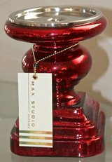 PAIR Of Max Studio Home CANDLE HOLDER Pillar RED Mercury GLASS Brand NEW in Oceanside, California