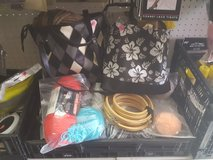 Assorted knitting items in Yucca Valley, California