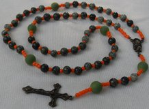 Rosary Camo Beads with Hunting Safety Orange Accents 2 Bronze Medal and Crucifix Custom in Kingwood, Texas