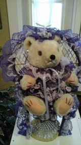 Girls Bedroom/Wedding Decor Purple Dressed Teddy Bear In Wicker Chair in Batavia, Illinois