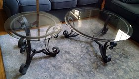 2-Piece Coffee & End Table - Wrought Iron Set w/Round Glass in Chicago, Illinois