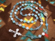 Rosary Robin Blue Agate Beads Czech Spacers Full Color Middle Medal Guardian Angel Italian Silve... in Kingwood, Texas