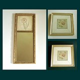 CHERI BLUM WALL ART w/ MIRROR, Antique Gold framed, 3 pcs in Oswego, Illinois