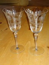 vintage etched fluted wine glasses in Aurora, Illinois