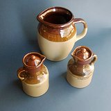 VTG BROWN/TAN STONEWARE PITCHER and CRUETS in St. Charles, Illinois