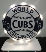 New Chicago Cubs World Series Homemade light-up display piece by local artist in Chicago, Illinois