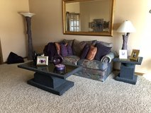Couch sleeper loveseat coffee table end tables painting and lamps in Joliet, Illinois