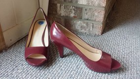 Like New! Womens Shoes - Franco Sarto Red Patent Leather Peep-Toe High Heels in Glendale Heights, Illinois