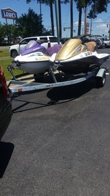 2005 Honda Aquatrax fx12 turbo and 2002 SEADOO GTI family ski with double trailer in Moody AFB, Georgia