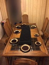 Dining Table & chairs (hardwood/smoked glass inserts) in Tacoma, Washington