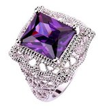 ***BRAND NEW***Solitaire 925 Sterling Silver Gorgeous*13mm Emerald Cut Amethyst Ring*** in Houston, Texas