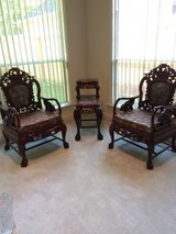 3-Piece Set Chinese Carved Solid Rosewood Marble Back Armchairs with Matching & Marble Tiered Table in Houston, Texas