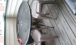 Typical outdoor metal table in Fort Bragg, North Carolina