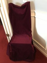 4 bergundy chair covers in Aurora, Illinois