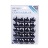 "1"" Black Vinyl Chair Tip - 20 Pack in Naperville, Illinois"