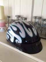 Fulmer motorcycle helmet silver with blue/black flames in 29 Palms, California