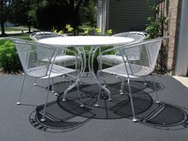White Vintage Wrought Iron Patio Set#1-Reduced-Great DEAL! in Naperville, Illinois