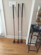 Vintage wooden golf clubs in Oswego, Illinois