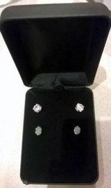 Set of CZ and Jade sterling silver earrings with box, New in Oswego, Illinois