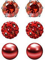 3 pair .6 mm stud red earrings (Valen'ts Day gift) in Clarksville, Tennessee