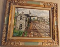 Old West Hinsdale train depot painting in Lockport, Illinois