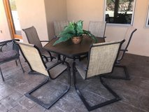 Patio table with glass top and 6 chairs--Excellent condition in Alamogordo, New Mexico