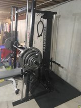 Powertec smith machine w 290lb Olympic weights plus ab machine in Naperville, Illinois
