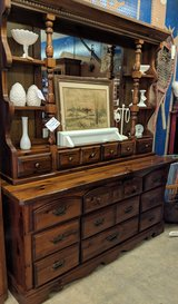 Pine Dresser with hutch mirror in Fort Campbell, Kentucky