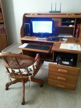Solid Oak Roll Top Computer Desk and Chair in Fort Campbell, Kentucky
