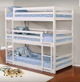 WHITE TRIPLE BUNK BED FREE DELIVERY in Camp Pendleton, California