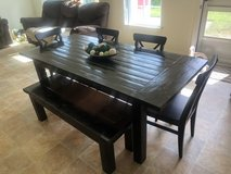 Large farm house handmade expression dining kitchen table seats 6-7 bench chairs in Camp Pendleton, California