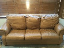 Genuine leather couch w/pull-out in Naperville, Illinois