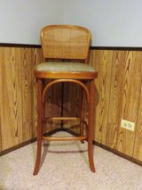 BEAUTIFUL  RATTAN CANE TWEED BAR STOOL / TALL CHAIR - LIKE NEW!! in Naperville, Illinois