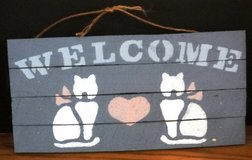 Cat Welcome Blue Decorative Handmade Rustic WoodenSign 12 x 6 with Heart in Naperville, Illinois