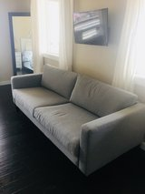 ikea karlstad couch with brand  new gray slipcover in Alamogordo, New Mexico