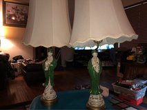beautiful pair of Asian themed antique lamp set in Kingwood, Texas