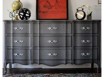 Gray dresser . French solid wood great piece in Morris, Illinois