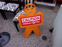 Caution Children at Play Sign in Fort Riley, Kansas