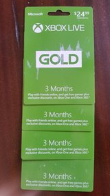 Xbox live Gold Cards 3 months in Joliet, Illinois