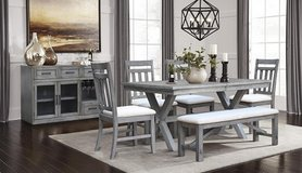 """BRAND NEW! UPSCALE DESIGNER """"DISTRESSED"""" SOLID WOOD DINING SET WITH BENCH! in Camp Pendleton, California"""