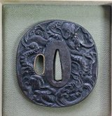 "Iron Tsuba from the Edo Period with Un Ryu ""Dragon Among the Clouds"" motif   in custom wooden ki... in Okinawa, Japan"