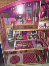 Barbie sized wooden dollhouse w/some furniture in Chicago, Illinois