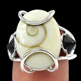 New - Natural Shiva Eye and Black Onyx 925 Sterling Silver Ring - Size 7 in Alamogordo, New Mexico