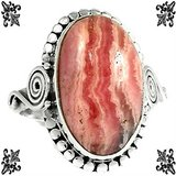 New - Pink Rhodochrosite 925 Sterling Silver Ring - Size 8.5 in Alamogordo, New Mexico